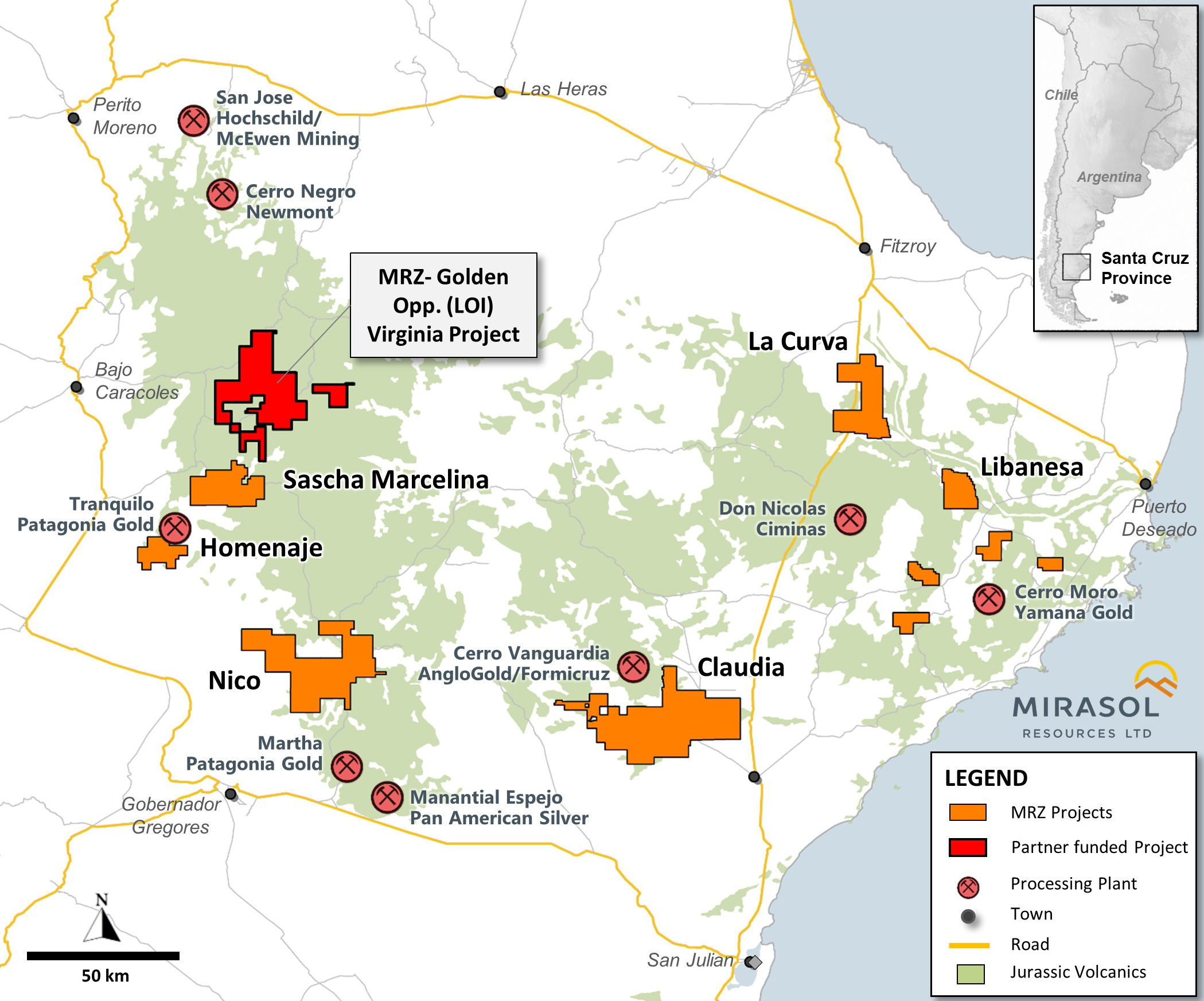 Location Map of the Virginia Silver Project in the Santa Cruz Province of Argentina
